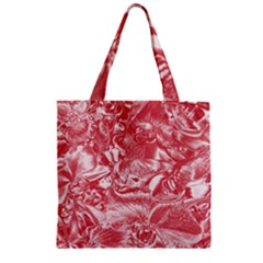 Shimmering Floral Damask Pink Zipper Grocery Tote Bag