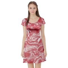 Shimmering Floral Damask Pink Short Sleeve Skater Dress