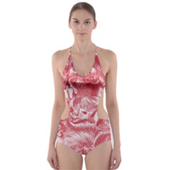 Shimmering Floral Damask Pink Cut-Out One Piece Swimsuit