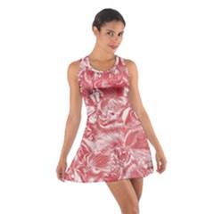 Shimmering Floral Damask Pink Cotton Racerback Dress