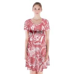 Shimmering Floral Damask Pink Short Sleeve V-neck Flare Dress