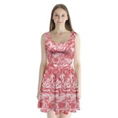 Shimmering Floral Damask Pink Split Back Mini Dress