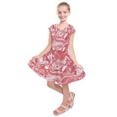 Shimmering Floral Damask Pink Kids  Short Sleeve Dress