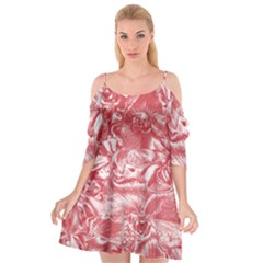 Shimmering Floral Damask Pink Cutout Spaghetti Strap Chiffon Dress