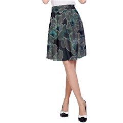 Glowing Flowers In The Dark C A-Line Skirt