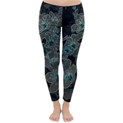 Glowing Flowers In The Dark C Classic Winter Leggings