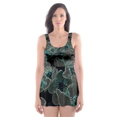 Glowing Flowers In The Dark C Skater Dress Swimsuit