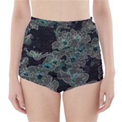 Glowing Flowers In The Dark C High-Waisted Bikini Bottoms