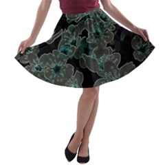 Glowing Flowers In The Dark C A-line Skater Skirt