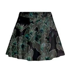 Glowing Flowers In The Dark C Mini Flare Skirt