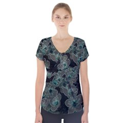 Glowing Flowers In The Dark C Short Sleeve Front Detail Top