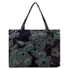 Glowing Flowers In The Dark C Medium Zipper Tote Bag