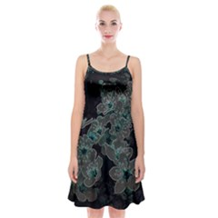 Glowing Flowers In The Dark C Spaghetti Strap Velvet Dress