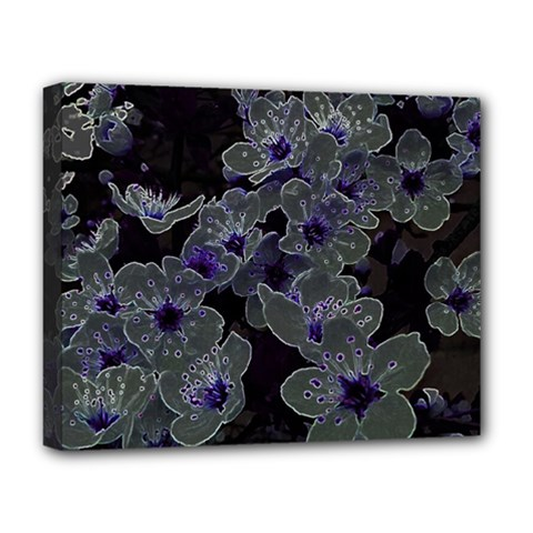Glowing Flowers In The Dark B Deluxe Canvas 20  x 16