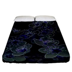 Glowing Flowers In The Dark B Fitted Sheet (California King Size)