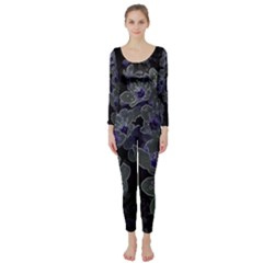 Glowing Flowers In The Dark B Long Sleeve Catsuit