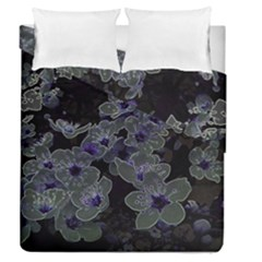 Glowing Flowers In The Dark B Duvet Cover Double Side (Queen Size)