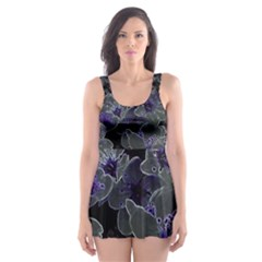 Glowing Flowers In The Dark B Skater Dress Swimsuit