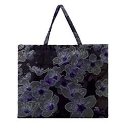 Glowing Flowers In The Dark B Zipper Large Tote Bag