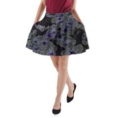 Glowing Flowers In The Dark B A-Line Pocket Skirt