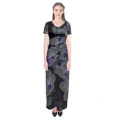 Glowing Flowers In The Dark B Short Sleeve Maxi Dress