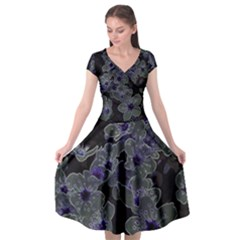 Glowing Flowers In The Dark B Cap Sleeve Wrap Front Dress