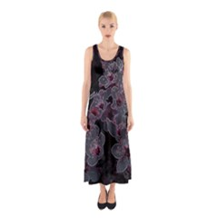 Glowing Flowers In The Dark A Sleeveless Maxi Dress