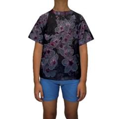 Glowing Flowers In The Dark A Kids  Short Sleeve Swimwear
