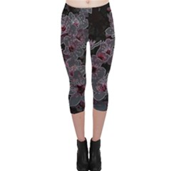 Glowing Flowers In The Dark A Capri Leggings