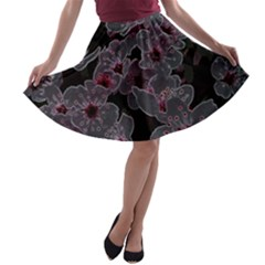 Glowing Flowers In The Dark A A-line Skater Skirt