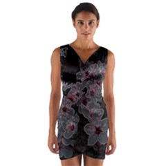 Glowing Flowers In The Dark A Wrap Front Bodycon Dress