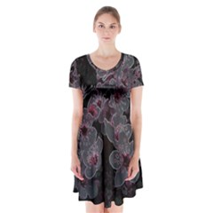 Glowing Flowers In The Dark A Short Sleeve V-neck Flare Dress