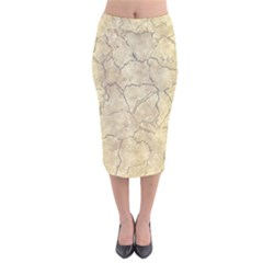 Cracked Skull Bone Surface B Velvet Midi Pencil Skirt
