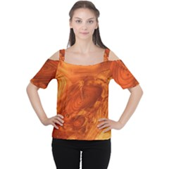 Fantastic Wood Grain Women s Cutout Shoulder Tee