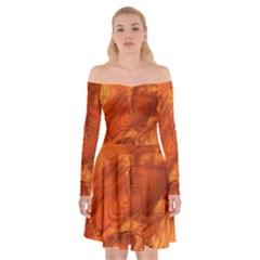 Fantastic Wood Grain Off Shoulder Skater Dress