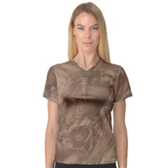 Fantastic Wood Grain Soft Women s V-Neck Sport Mesh Tee