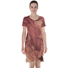 Fantastic Wood Grain,brown Short Sleeve Nightdress