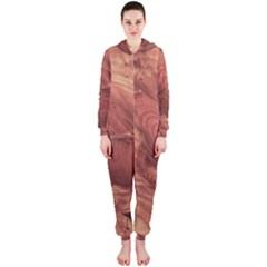Fantastic Wood Grain,brown Hooded Jumpsuit (Ladies)