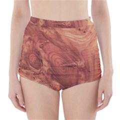 Fantastic Wood Grain,brown High-Waisted Bikini Bottoms
