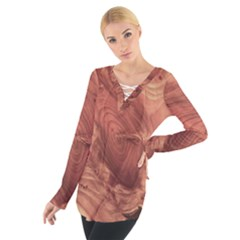 Fantastic Wood Grain,brown Women s Tie Up Tee