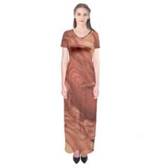 Fantastic Wood Grain,brown Short Sleeve Maxi Dress