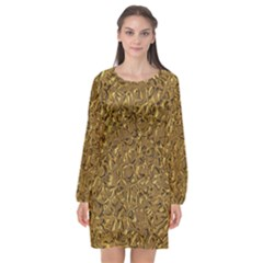 Sparkling Metal Art A Long Sleeve Chiffon Shift Dress