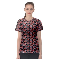 Roses pattern Women s Sport Mesh Tee