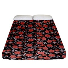 Roses pattern Fitted Sheet (King Size)
