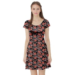Roses pattern Short Sleeve Skater Dress