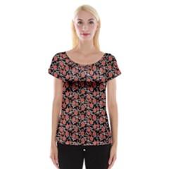 Roses pattern Women s Cap Sleeve Top