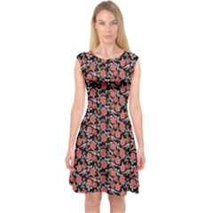 Roses pattern Capsleeve Midi Dress