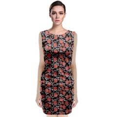 Roses pattern Sleeveless Velvet Midi Dress