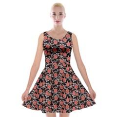 Roses pattern Velvet Skater Dress