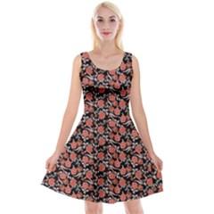 Roses pattern Reversible Velvet Sleeveless Dress